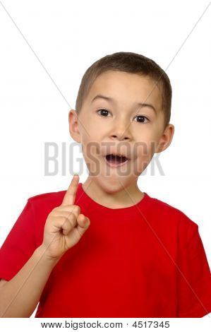 Kid With Inspiration, On White Background