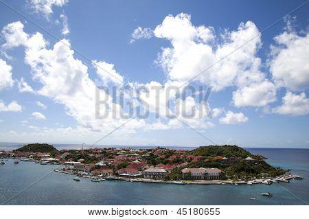 Aerial view of Gustavia Harbor at St Barts