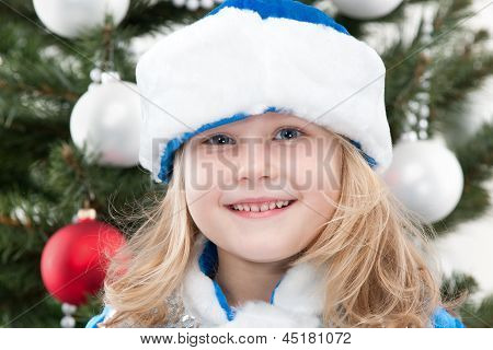 Snow Maiden At The Christmas Tree