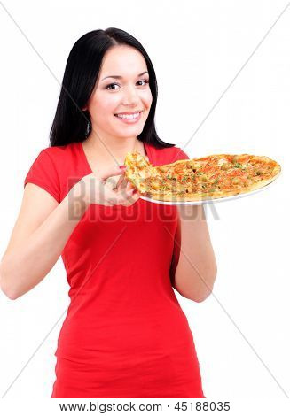 Beautiful girl wants to eat pizza isolated on white