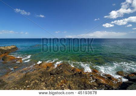 Low Tide At The Atlantic Ocean Coast. Lanzarote.
