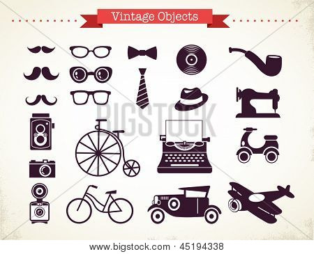 vintage hipster objects collection