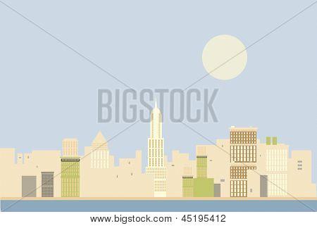 New York skyline in the morning illustration