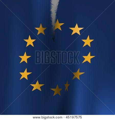Torn flag of the European Union, eps10 vector
