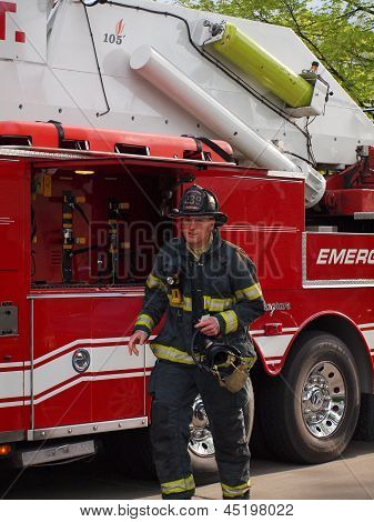 Fireman Rushes to Home Fire