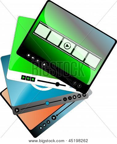Video Movie Media Player Interface Set Isolated On White