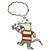cartoon white rat smoking cigarette poster
