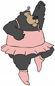 This illustration depicts a black bear dancing in a tutu. poster
