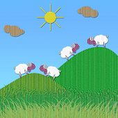 Cardboard sheep on green hills under the sun poster
