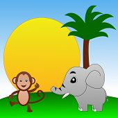 fairy-tale personages elephant and monkey on a green lawn illustration poster