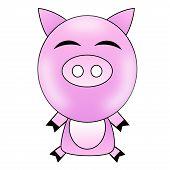 drawn amusing pig on a white background illustration poster