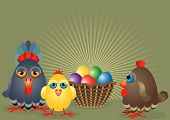 hen a family with chicken rooster and basket with colored eggs poster