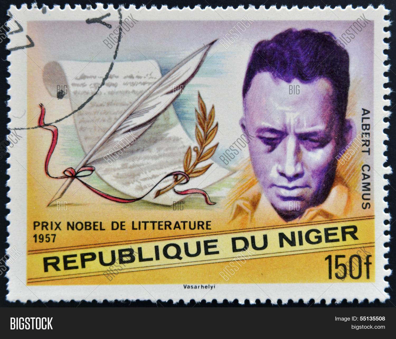 A Stamp Printed In Niger Shows Nobel Prize Literature Albert Camus