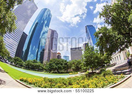 Skyline Of Houston  In Daytime