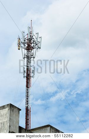 Cloudy day and the telecommunication pole