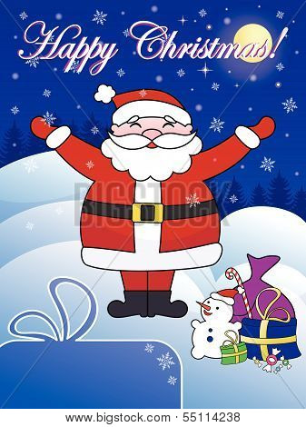 Happy Christmas Postcard With Santa