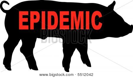 vector. warning swine flu on a white background poster