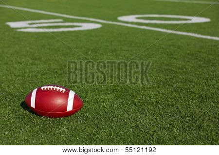 American Football on the Field near the Fifty with room for copy
