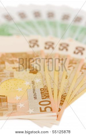 Euro Notes Spread Out Not White Background