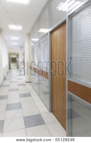 Long corridor in the business center