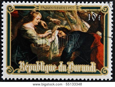 Stamp printed in Burundi shows The Ascent of Calvary by Peter Paul Rubens