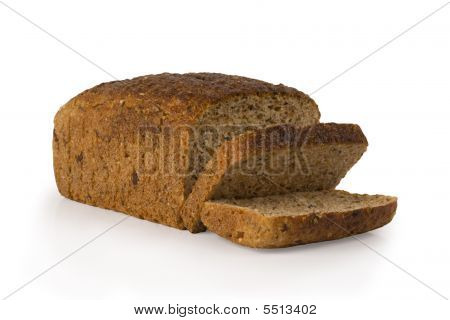 Loaf Of Seed Bread On White