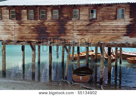 Boathouse On Dobiacco Lake In Italy