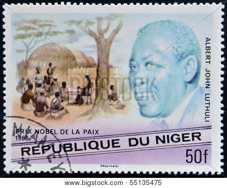 A stamp printed in Niger shows Nobel Peace Prize Albert John Lutuli