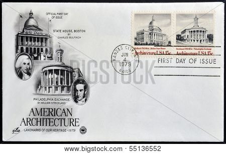 stamp shows State House Boston by Bulfinch and Philadelphia Exchange by Strickland