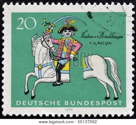 stamp shows Munchhausen on his severed horse soldier, storyteller Count Hieronymus von Munchhausen