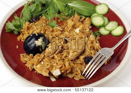 An authentic Saudi chicken kabsa (known in Qatar as majbous), garnished with raisins, parsley and almond flakes, on a serving bowl. Kabsa is a national staple for Saudi Arabia and the Arab Gulf States poster