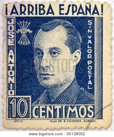 A stamp printed in Spain shows Jose Antonio Primo de Rivera