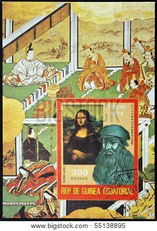 A stamp printed in Guinea shows Bust of Leonardo da Vinci and the Mona Lisa