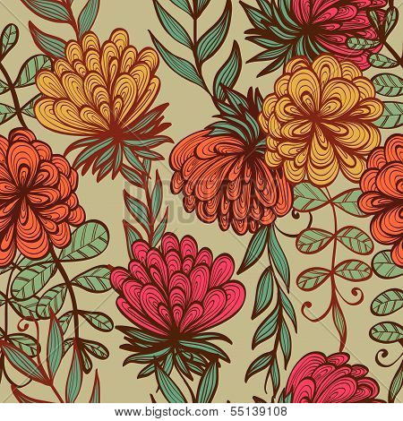 Seamless Hand Drawn Vintage Floral Pattern