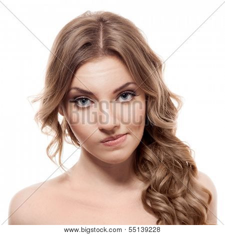 Lovely confused woman against white background