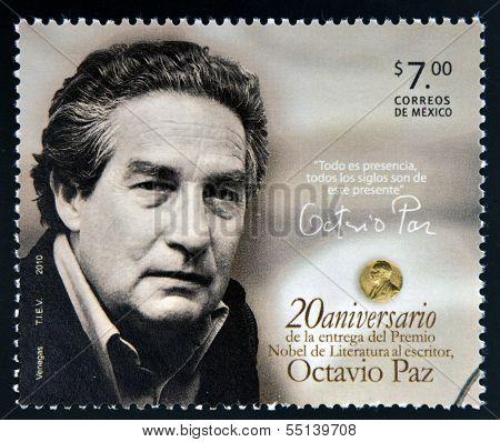 MEXICO - CIRCA 2010: A stamp printed in Mexico shows Octavio Paz Nobel Prize for Literature