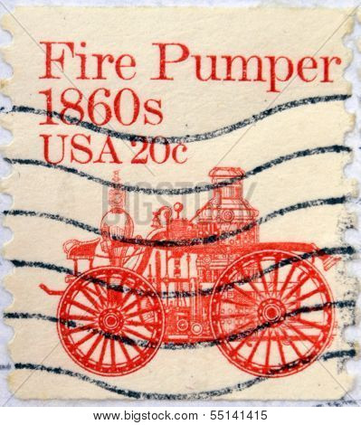 UNITED STATES OF AMERICA - CIRCA 1981: stamp printed in USA shows Fire pumper 1860s circa 1981