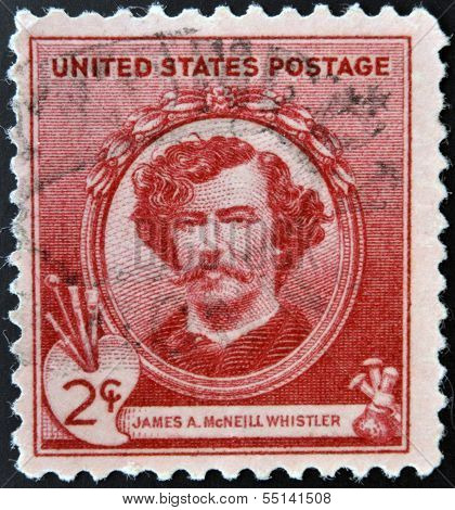 A stamp printed in the USA shows artist James McNeill Whistler