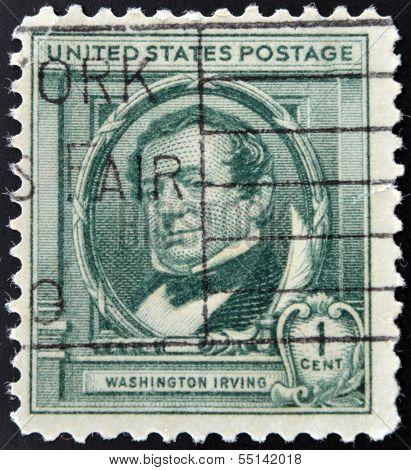 UNITED STATES OF AMERICA - CIRCA 1940: A stamp printed in USA shows Washington Irving circa 1940