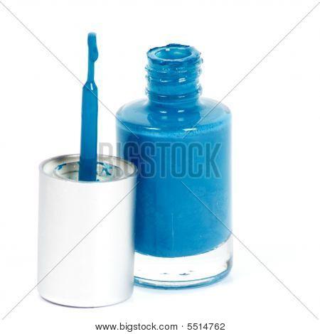 Blue Nail Polish On White Background