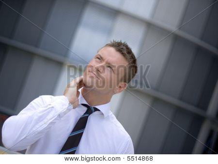 Pensive Handsome Corporate Man