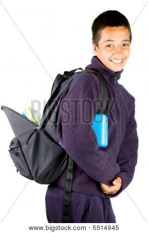 Happy Pakistan Schoolboy Is Going To School
