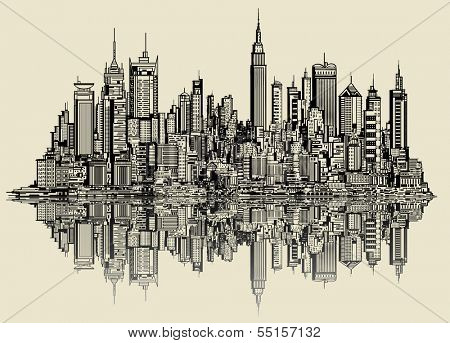 Vector illustration of a sketch of new york (fictitious)