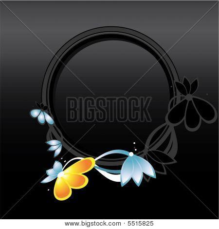 Black Orange Blue Circular Frame