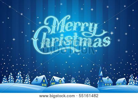 Merry Christmas lettering, vector illustration