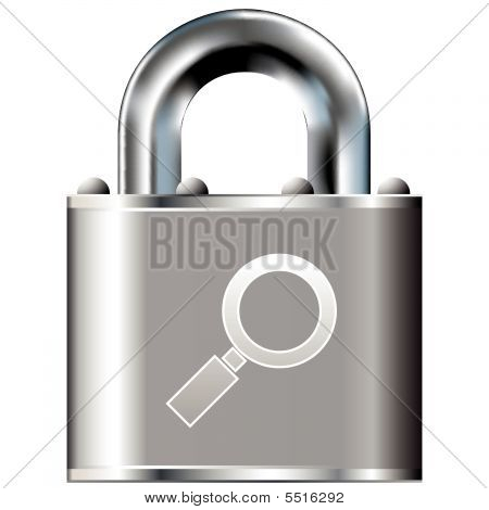 Magnifying Glass Icon On Vector Lock