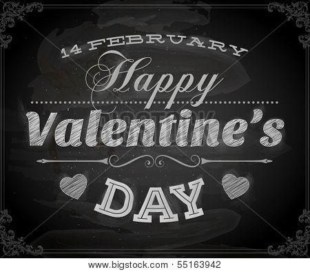 Happy Valentines Day Card Design. 14 February. I Love You. Vector. Chalkboard design, chalk.