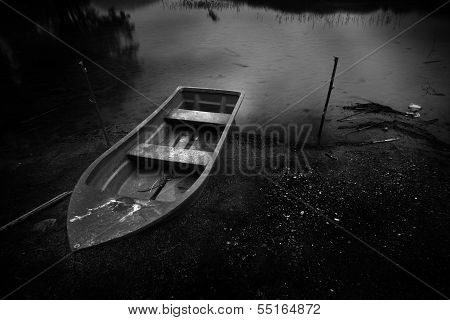 Black And White Boat And The River In The Night