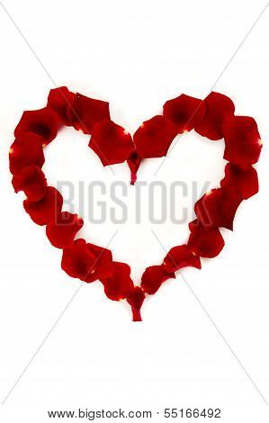 Red Rose Petals In A Heart Shape