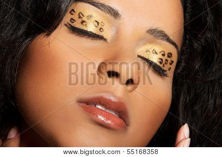 Close up on beautiful tiger make-up on eyes. Goldis-blakish eyeshadows.